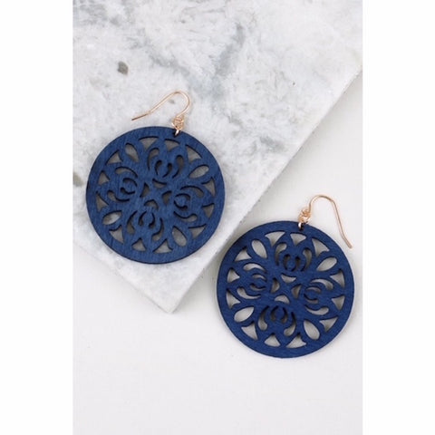 Round Wood Filigree Earring in Navy