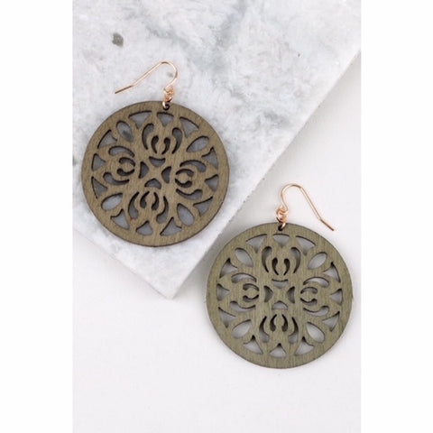 Round Wood Filigree Earring in Olive