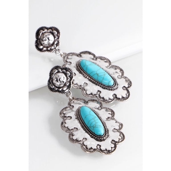 Vintage Silver & Turquoise Dangle Earrings