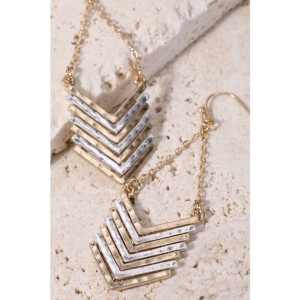 Chevron Chain Dangle Earrings Gold/Silver