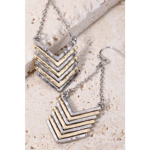 Chevron Chain Dangle Earrings Silver/Gold