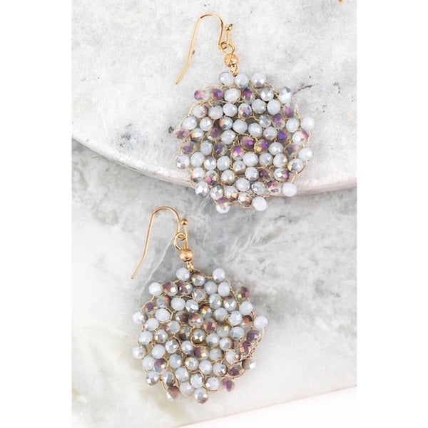 Crystal Wire Beaded Circle Earrings Opal Gray