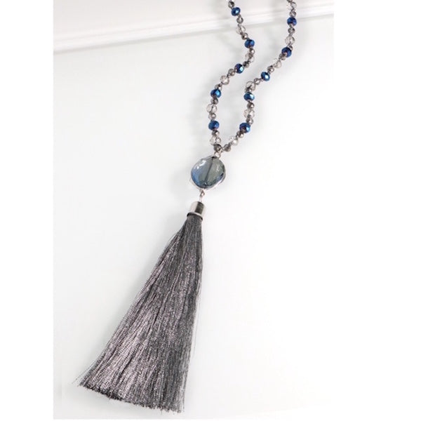 Blue Stone with Silver Tassel Necklace Set