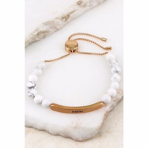 Engraved FAITH Natural Stone Pull Tie Bracelet White