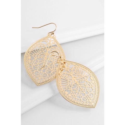 Intricate Leaf Shaped Earrings in Gold