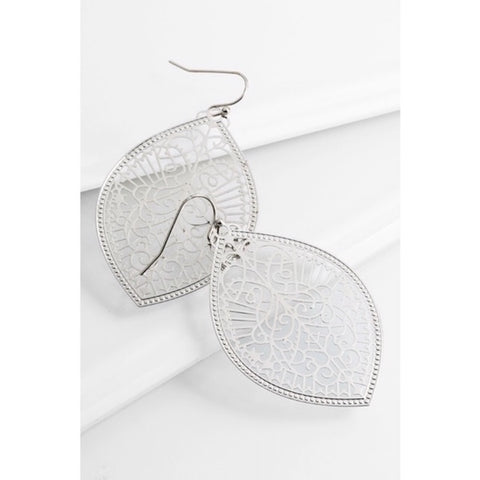 Intricate Leaf Shaped Earrings in Silver