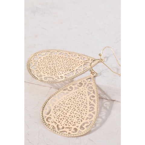Intricate Design Tear Drop Earrings Gold