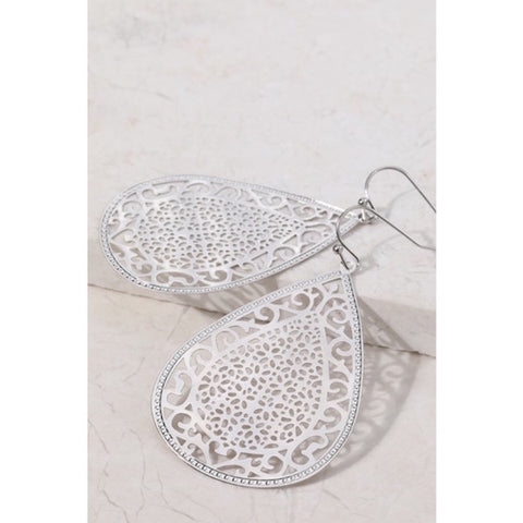 Intricate Design Tear Drop Earrings Silver