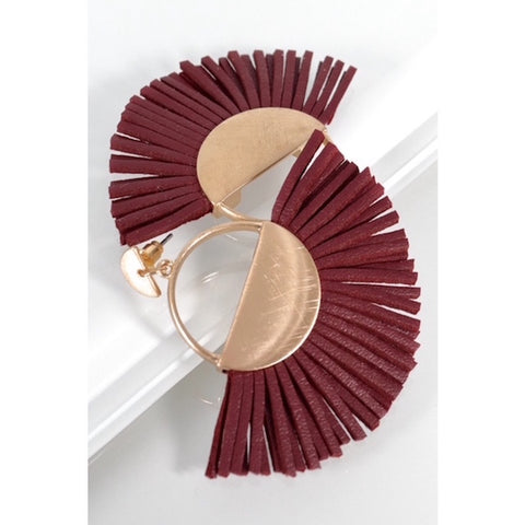 Brushed Gold with Burgundy Leather Fringe Earrings
