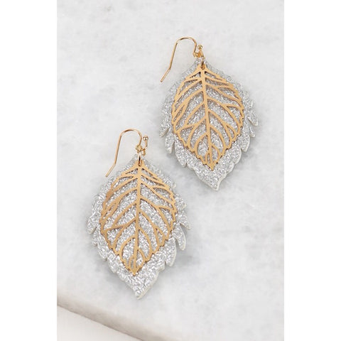 Filigree and Leaf Leather Earrings in Silver