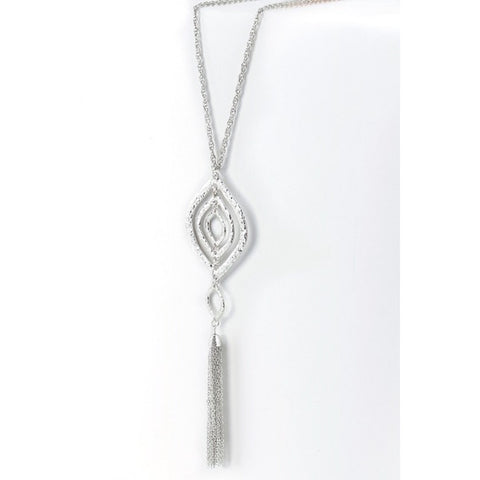 Silver Textured Pendant Necklace with Tassel