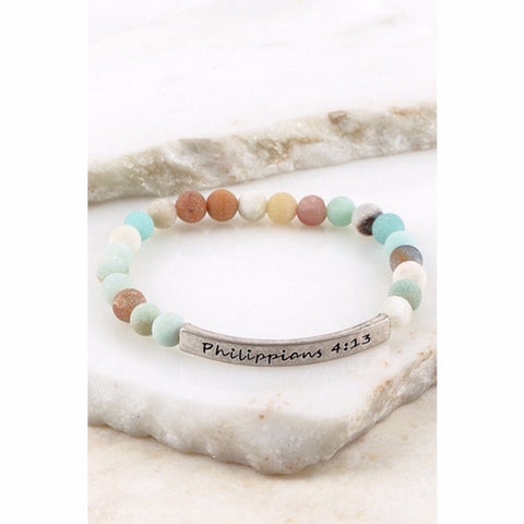 Philippians 4:13 Natural Stone Stretch Bracelet Silver