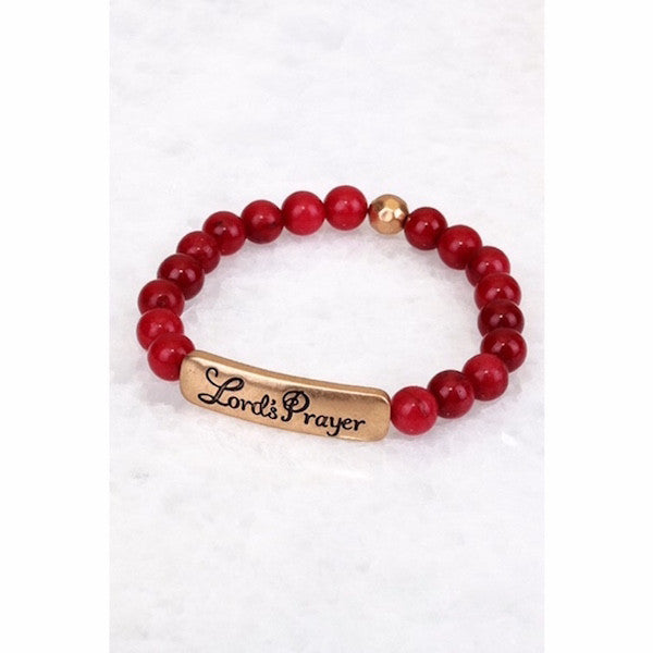 Engraved LORD'S PRAYER Natural Stone Bracelet Burgundy