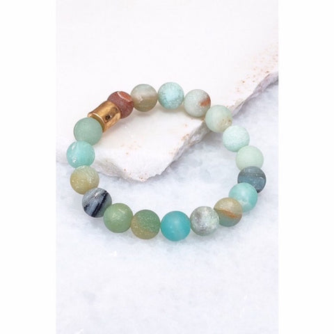 Matte Natural Stone Stretch Stackable Bracelet Mint