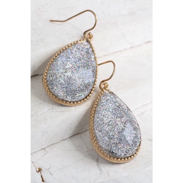 Silver Glitter Glass Tear drop Earrings