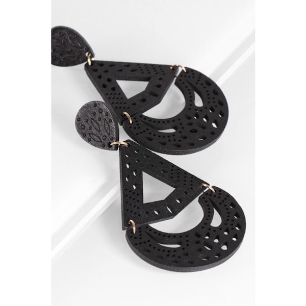 Intricate Laser Cut Wood Tear Drop Earrings Black