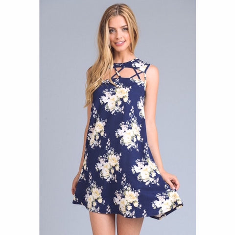 Floral Criss Cross Cut Out Tunic Dress