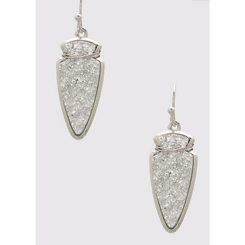 Arrowhead Druzy Drop Earrings in Silver