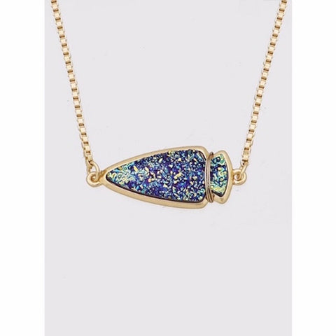 Arrowhead Druzy Pendant Necklace in Iridescent Blue