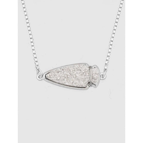 Arrowhead Druzy Pendant Necklace in Silver
