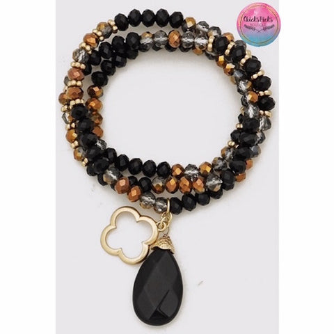 Clover & Natural Stone Beaded Stretch Bracelet Black