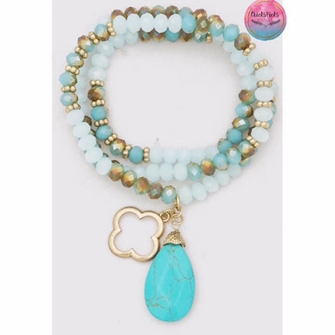 Clover & Natural Stone Beaded Stretch Bracelet Mint Turquoise