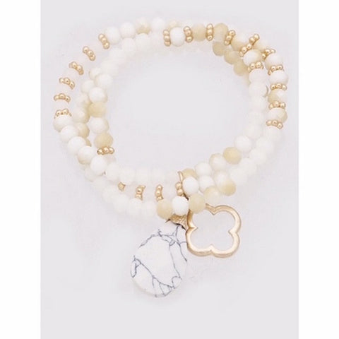 Clover & Natural Stone Beaded Stretch Bracelet White