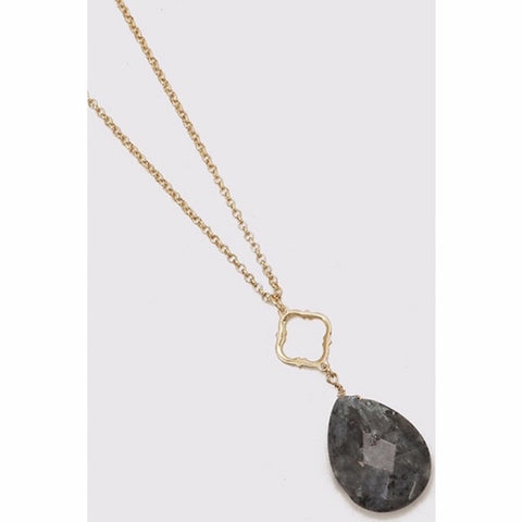 Oval Semi-Precious Stone & Clover Long Necklace Gray