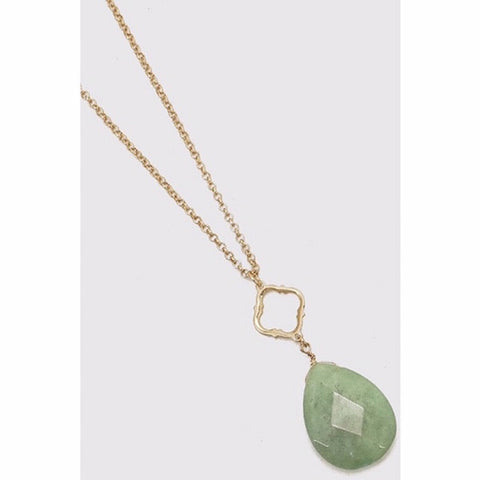 Oval Semi-Precious Stone & Clover Long Necklace Green