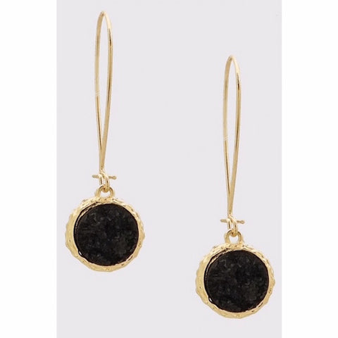 Round Druzy Drop Wire Earrings in Black