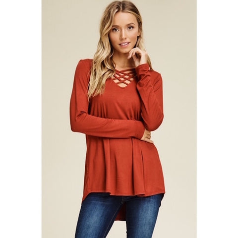 Criss Cross V-Neck High Low Hem Top Rust