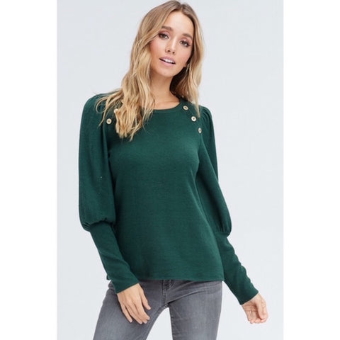 Hunter Green Puff Sleeve Sweater