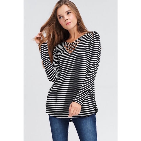 Striped Criss Cross V-Neck High Low Hem Top