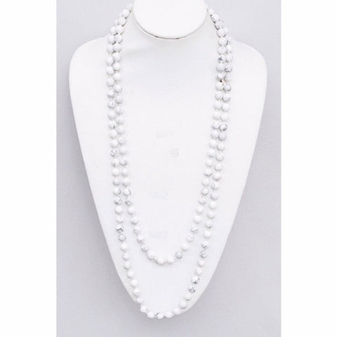 Semi-Precious Stone Long Layering Necklace White