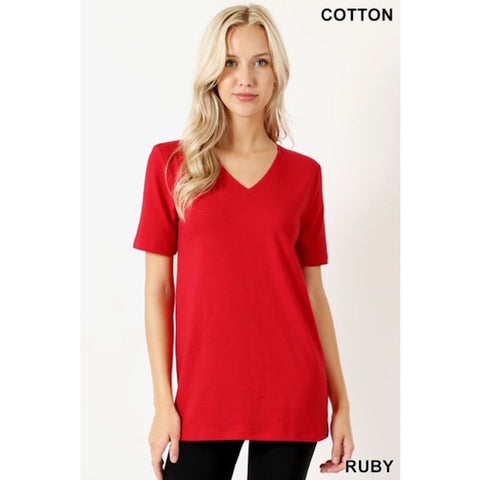 V-Neck Short Sleeve Tee Red