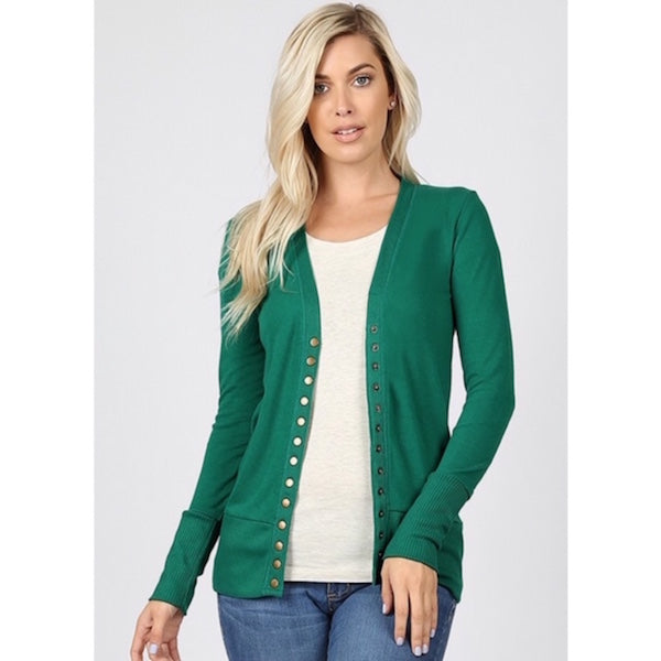 Long Sleeve Button Cardigan Kelly Green