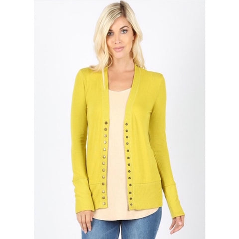 Long Sleeve Button Cardigan Wasabi