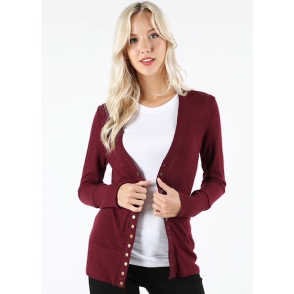 Long Sleeve Button Cardigan Maroon