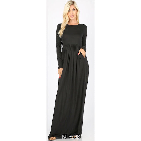 Long Sleeve Maxi Dress with Pockets in Black