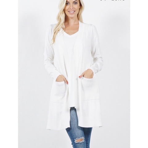 Long Open Cardigan with Pockets Off White