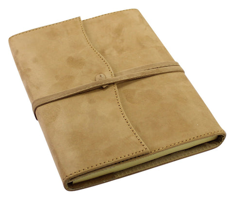 Creoly Handmade Suede Leather Refillable Journal w/ Wrap Tie