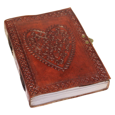 Creoly Handmade 'Love Heart' Embossed Leather Journal with Latch Closure