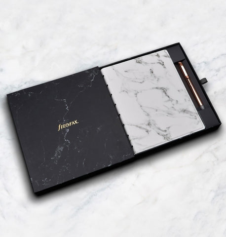 Filofax Gift Box Set | Filofax Patterns Marble A5 Notebook with Erasable Rose Gold Ballpoint Pen