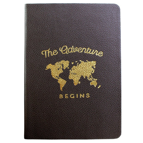 "Fortessa ""The Adventure Begins"" Dark Brown Leather Journal"