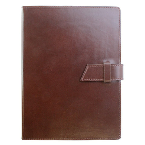 "Fortessa ""Castagna"" Dark Brown Leather Journal with Belt"