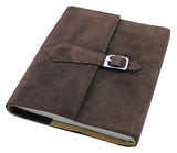 Creoly Handmade Dark Suede Leather Refillable Journal with Buckle