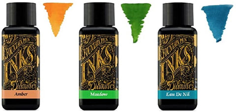 Diamine - 30ml Fountain Pen Ink - 3 Pack - Amber, Meadow Green, Eau de Nil