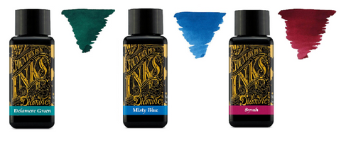 Diamine - 30ml Fountain Pen Ink - 3 Pack - Delamere Green & Misty Blue & Syrah