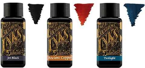Diamine - 30ml Fountain Pen Ink - 3 Pack - Jetblack & Twilight & Ancient Copper