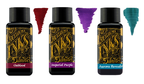 Diamine - 30ml Fountain Pen Ink - 3 Pack - Oxblood & Imperial Purple & Aurora Borealis